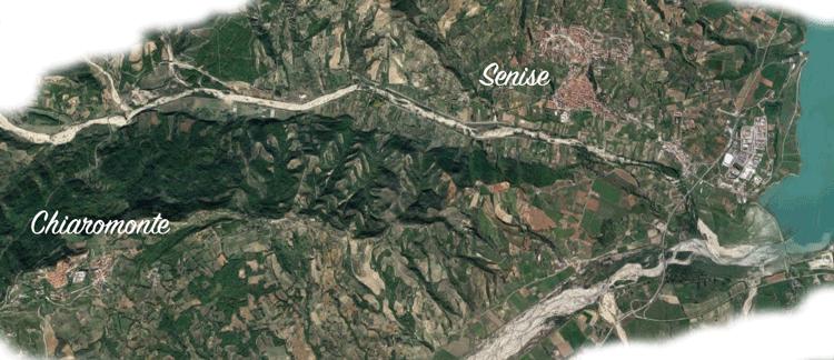 mappa visto dal satellite chiaromonte e senise diga di montecotugno