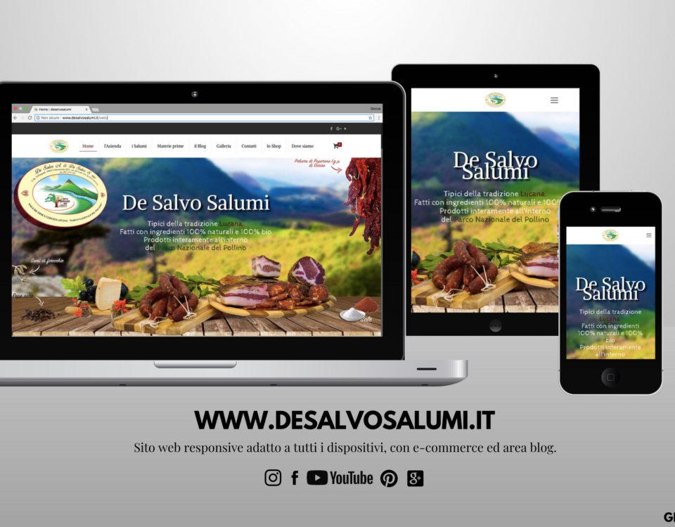 sito web www.desalvosalumi.it è online con ecommerce pubblicazione responsive social network mockup
